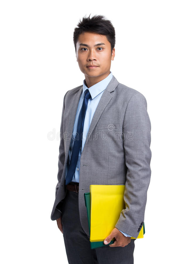 Asian businessman hold with file board. On white background royalty free stock photos
