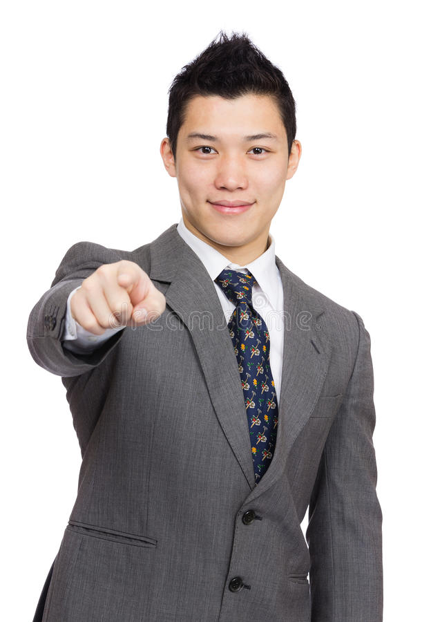 Asian businessman point to you stock photos