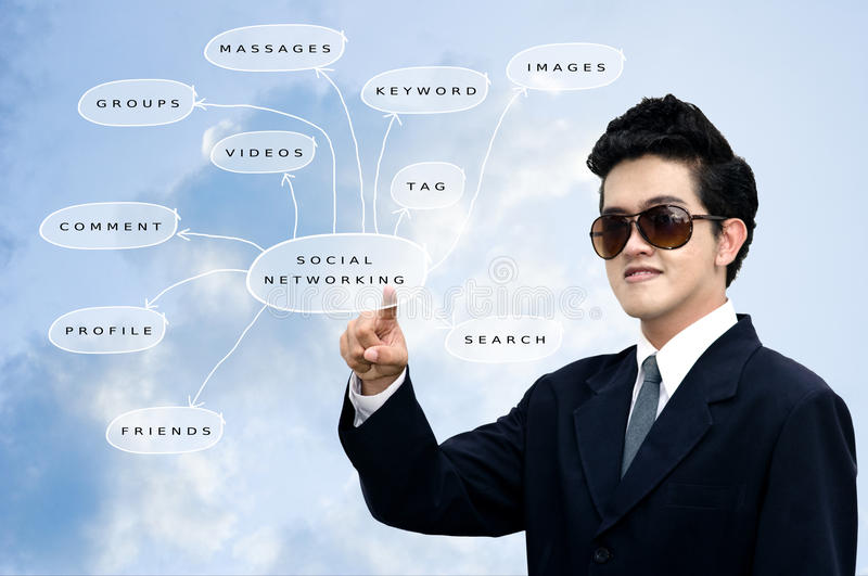 Asian businessman pointed the diagram. Asian businessman pointed the social networking diagram, Social network concept stock images
