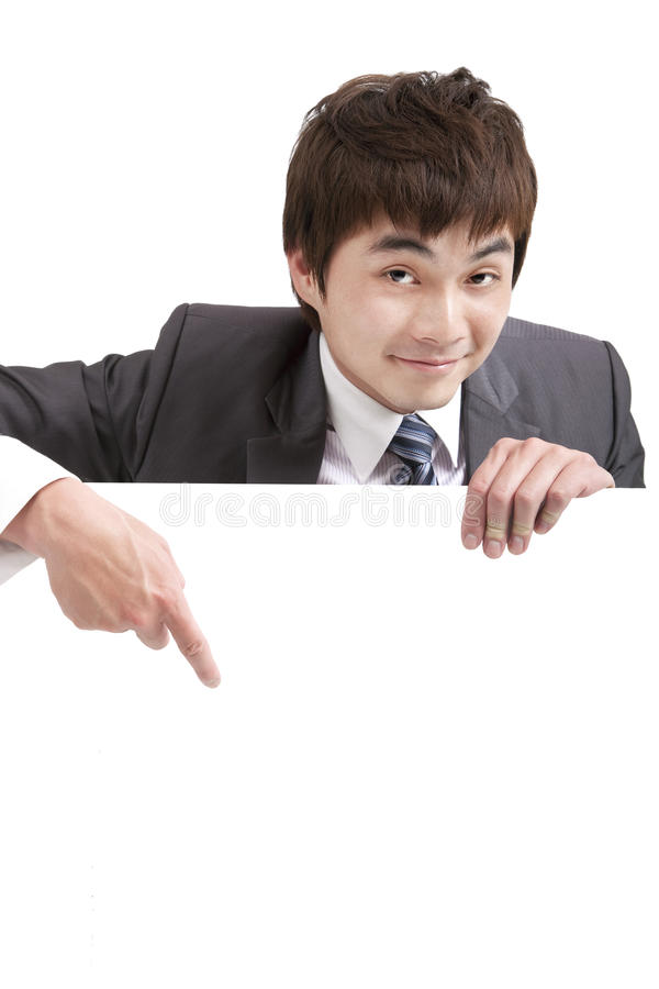Download Asian  Businessman Pointing Empty Board Stock Photo - Image: 24376798