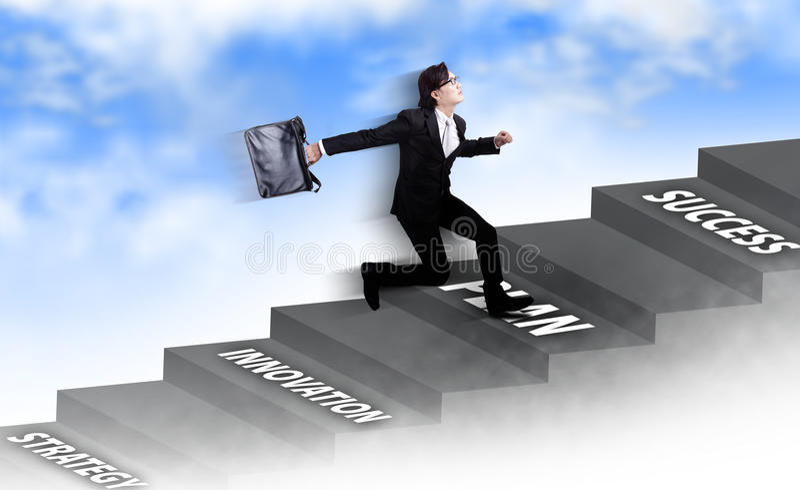 Asian businessman running stock image