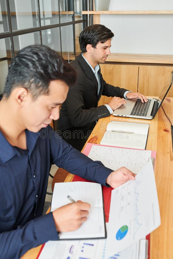 Businessman making a financial report stock photo