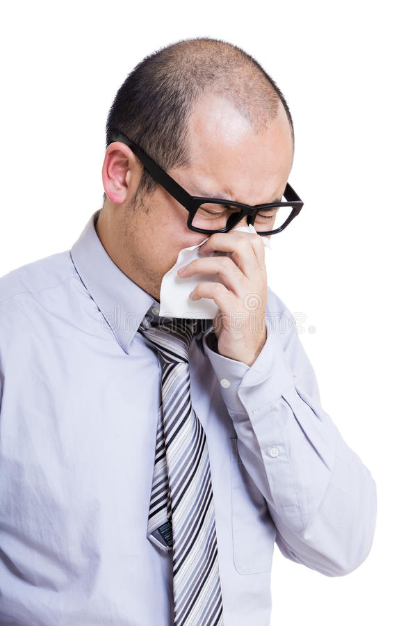 Asian businessman sneezing royalty free stock photos