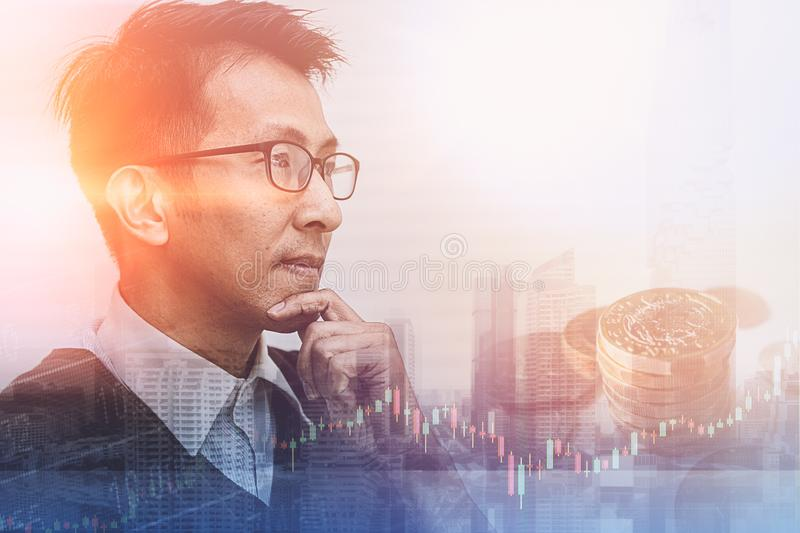 Asian businessman thinking and vision to future. Business concept stock photography