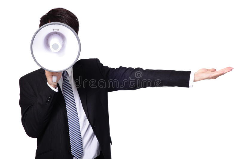 Asian businessman using bullhorn. Isolated on white background royalty free stock photos