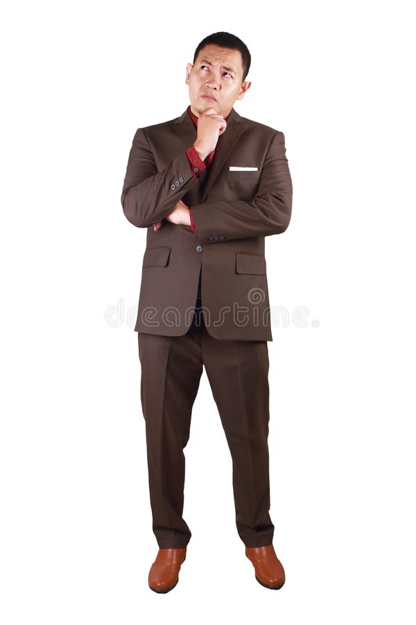 Businessman Thinking Expression. Asian businessman wearing suit thinking expression. Looking up,full body portrait isolated on white young indonesian malay thai stock photo