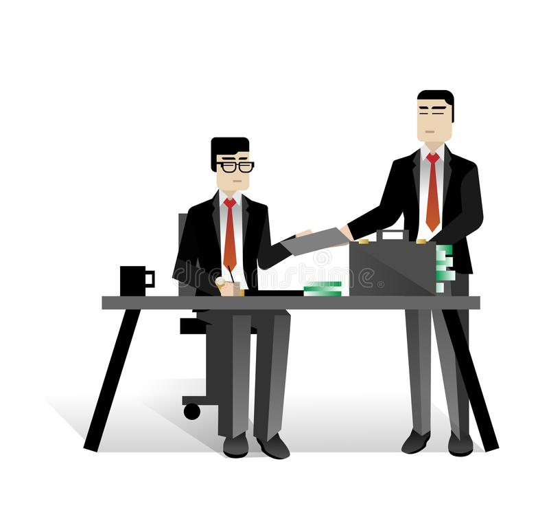 Asian businessmen conclude a contract. In office. Corporate business people isolated vector illustration stock illustration