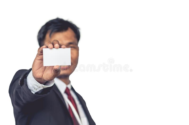 Asian businessmen showing Blank Card holded by hand. Asian businessmen showing Blank Card holded by hand stock photography
