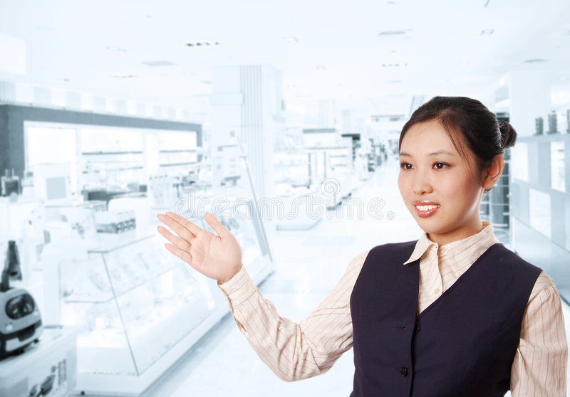 Asian businesswoman. Indicating with hand stock images