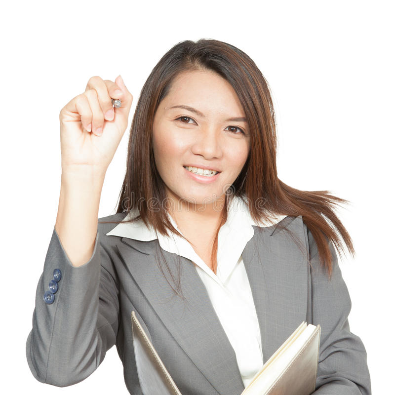 Asian businesswoman beautiful young pretty gesture smiling drawing on screen stock photo