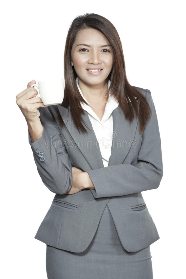 Asian businesswoman beautiful young pretty gesture smiling drink royalty free stock photography