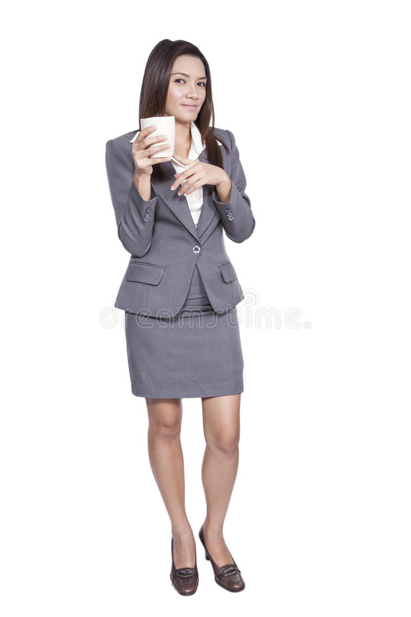 Asian businesswoman beautiful young pretty gesture smiling drink stock photo