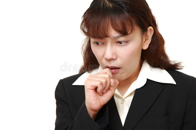 asian businesswoman coughing stock photography