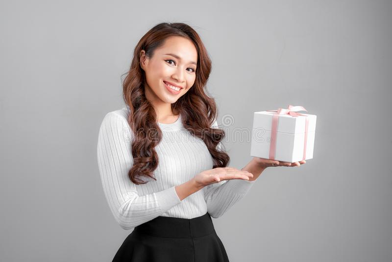 Asian businesswoman hold with gift box royalty free stock images
