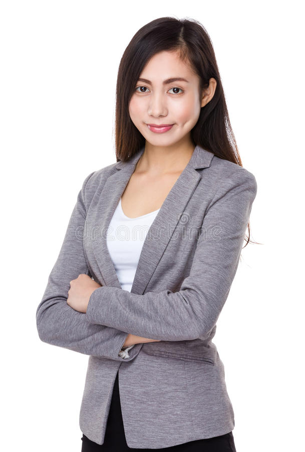 Asian businesswoman. Isolated on white background stock images