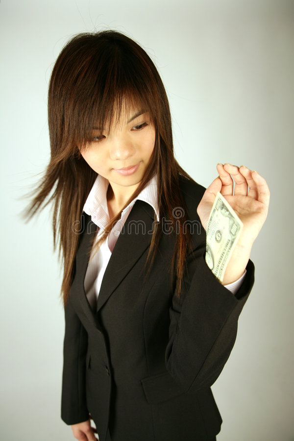 Asian businesswoman with money royalty free stock photos