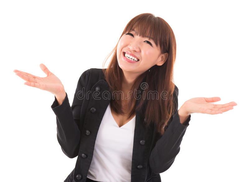 Asian Businesswoman Open Arms Showing Unbelievable Expression Stock Photo