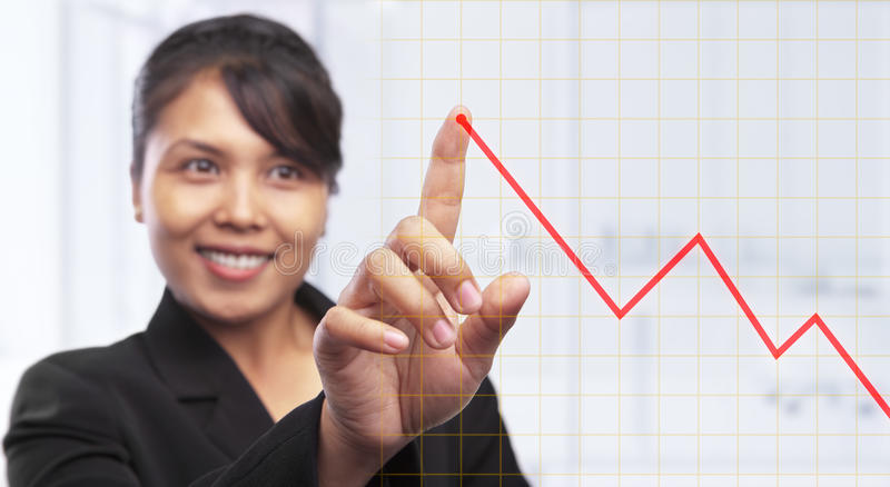 Asian Businesswoman Pointing Graph Stock Photo