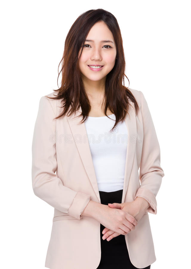 Asian businesswoman portrait. Isolated on white background royalty free stock photos