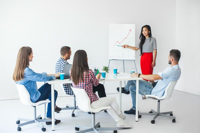 Asian businesswoman presenting new development strategy. To partners in the office stock photos