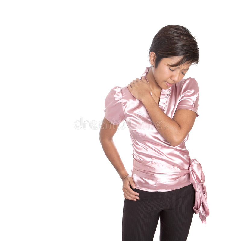 Asian Businesswoman Suffering From Ache On Shoulde Stock Photography