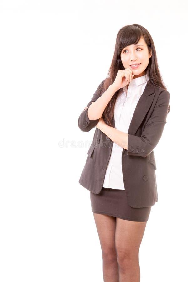 Asian businesswoman thinking royalty free stock photo