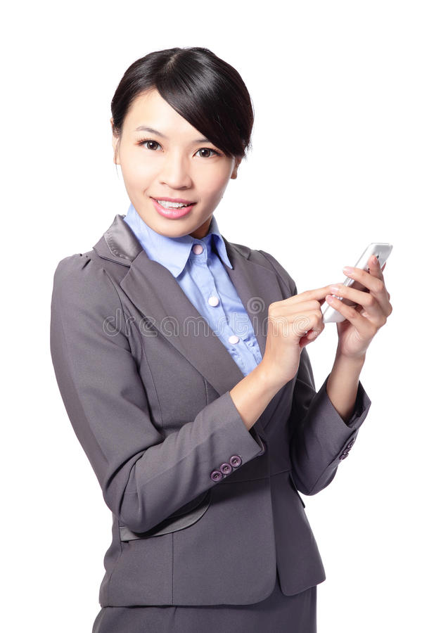 Download Asian Businesswoman Using Smart Phone Stock Photo - Image of beauty, adult: 29231852