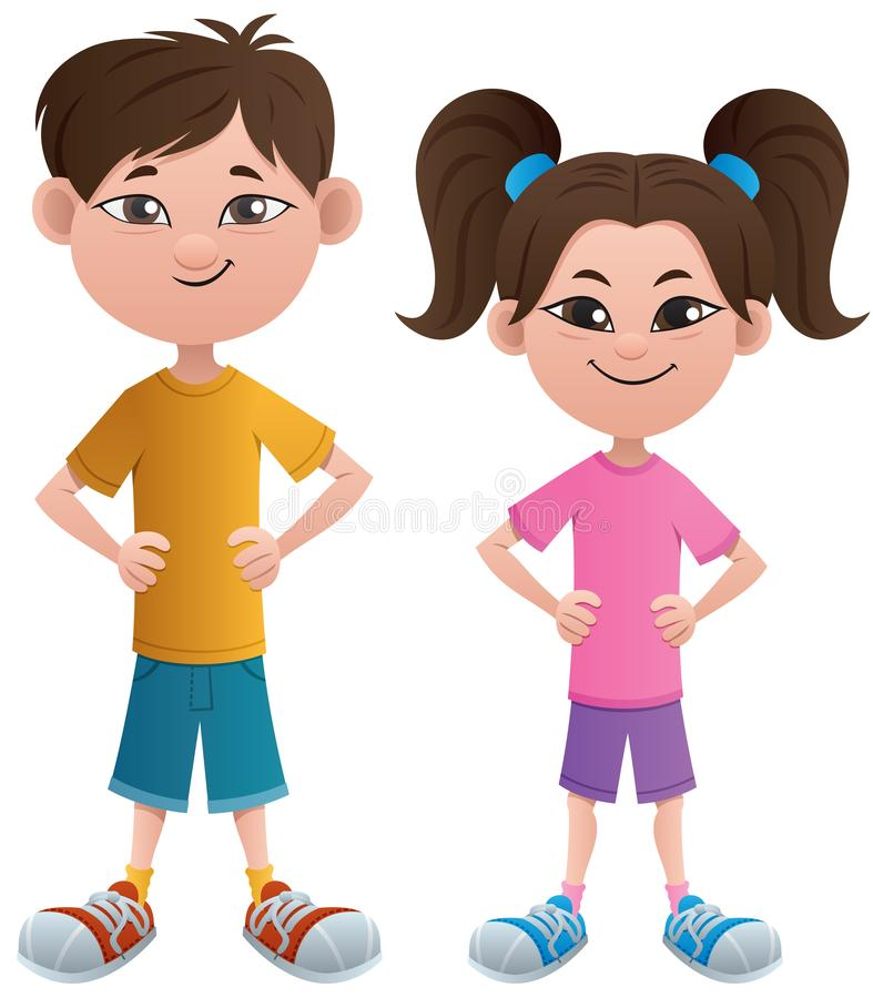 Boy and Girl Asian. Asian cartoon boy and girl posing standing stock illustration