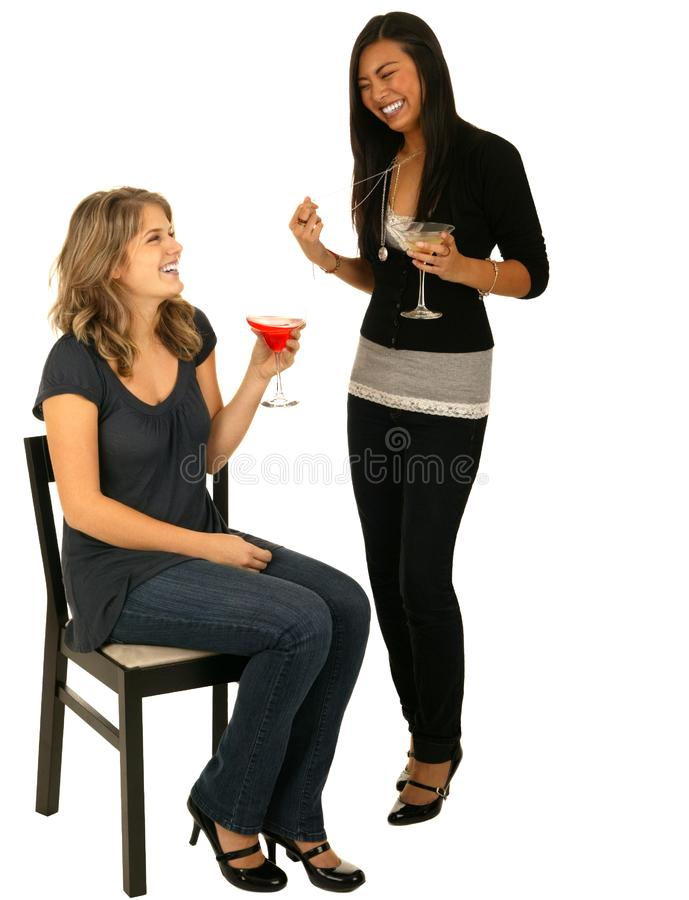 Asian And Caucasian Girls In Party stock photography