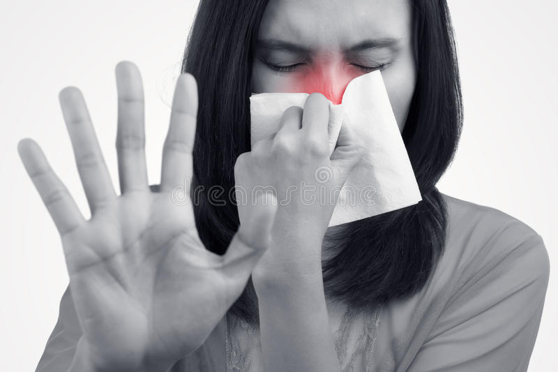 Asian caucasian woman with flu stock photo