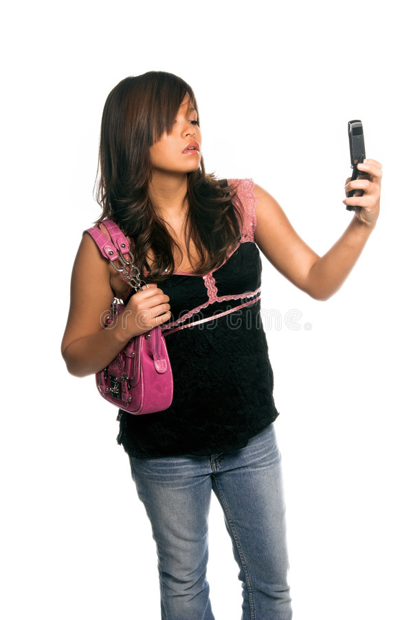 Asian Cell Phone Woman royalty free stock photos
