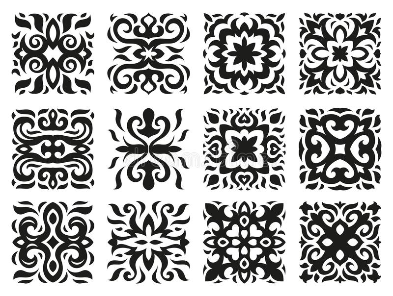 Ethnic patterns in the form of tiles black and white stock images