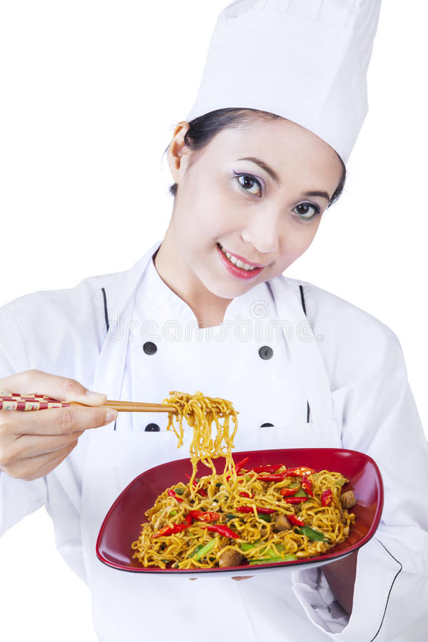 Download Asian Chef And Fried Noodle - Isolated Stock Photo - Image: 30469764