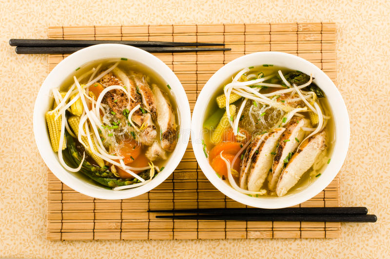 Download Asian Chicken Noodle Soup With Glass Noodles, Beam Sprouts And V Stock Image - Image of east, lunch: 33951267