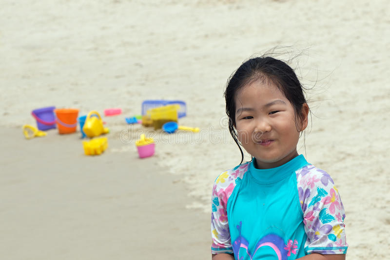 Asian Child At The Beach Stock Images