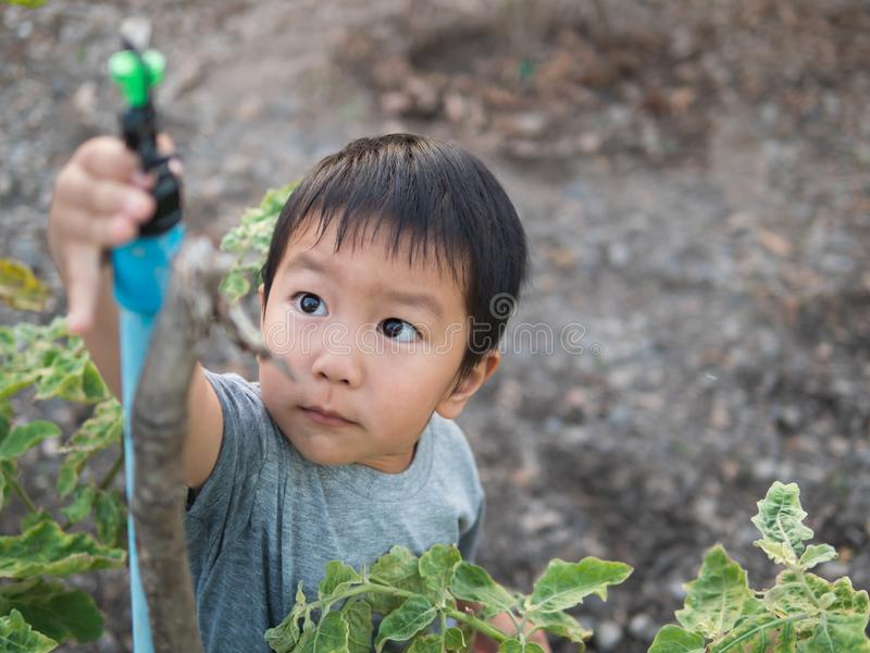 Asian child boy turning sprinkler with smiling face in garden at home. Young kid do gardening in summer holiday. stock image
