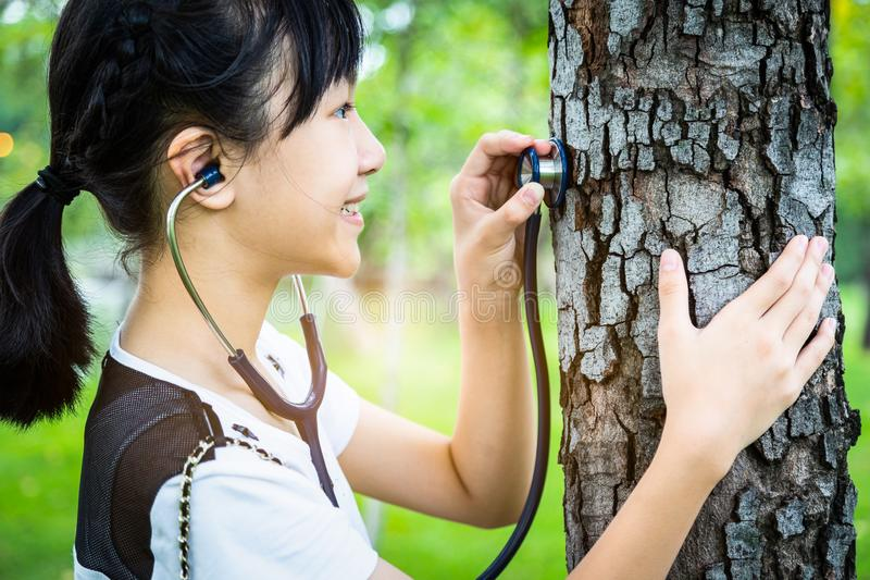 Asian child girl hand listening and care of a tree with stethoscope,dream job,female teenager want to be a doctor,checking healthy stock image