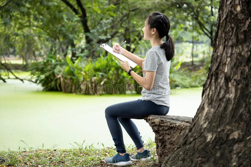 Asian child girl hobby is drawing pictures with white blank sheet of paper in clipboard, sitting in nature, beautiful female. Teenage  enjoys writing something royalty free stock images