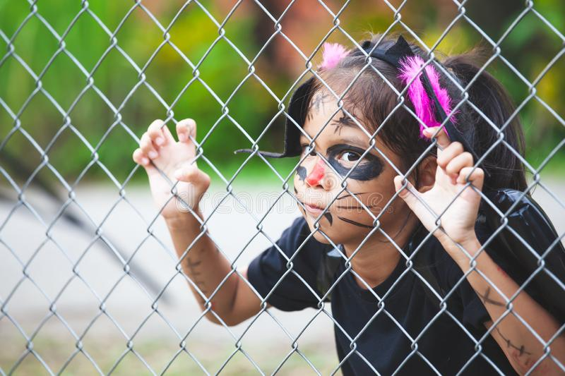 Asian child girl wearing halloween costumes and makeup holding steel mesh and  having fun on Halloween celebration royalty free stock photos
