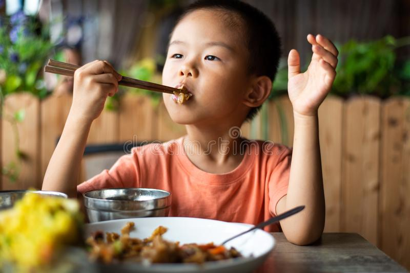 Asian child having lunch at the restaurant. Cute Asian child having lunch at the restaurant, eating, kid, food, small, thai, chinese, chopsticks, 4, meal stock photos