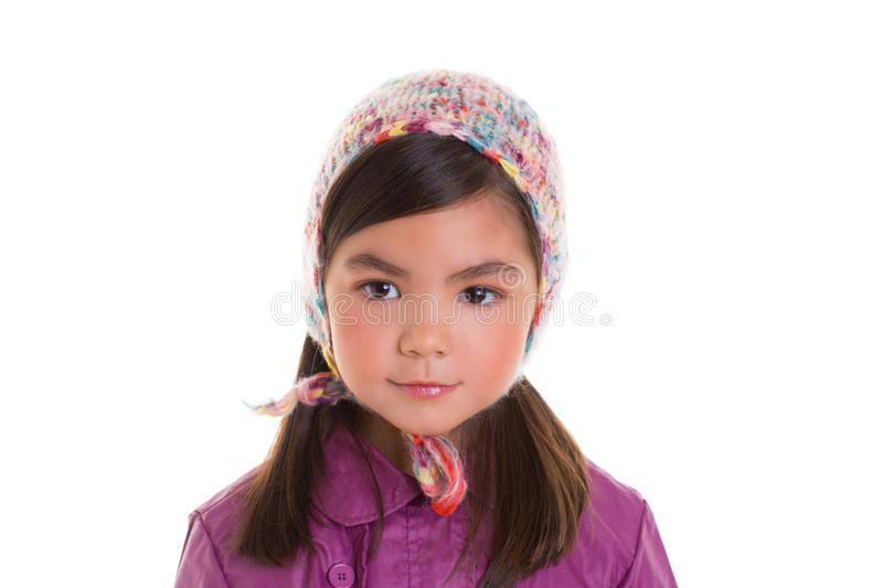 Asian child kid girl winter portrait purple coat and wool cap royalty free stock photography