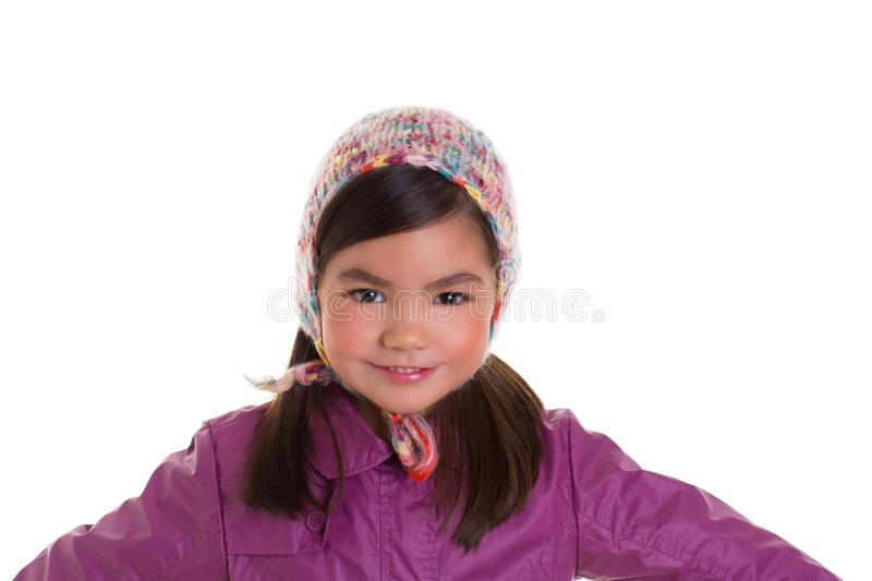 Asian child kid girl winter portrait purple coat and wool cap. On white background stock photo