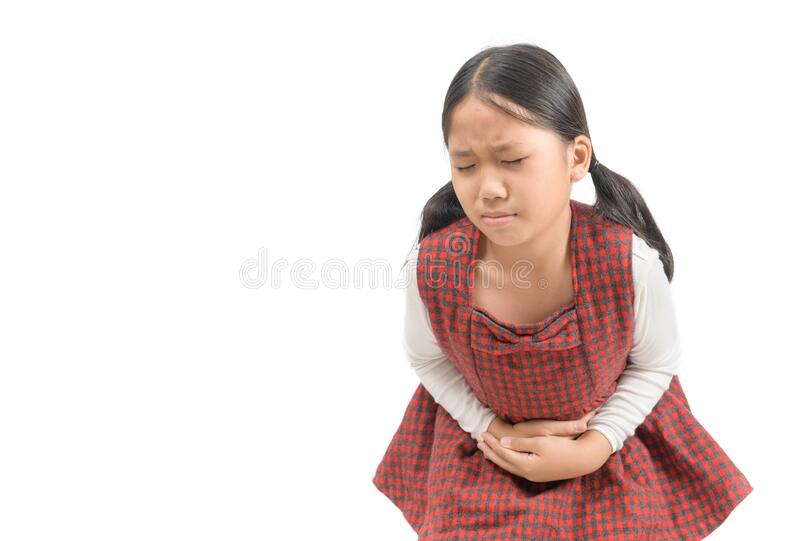 Asian child suffering from stomachache isolated stock photos