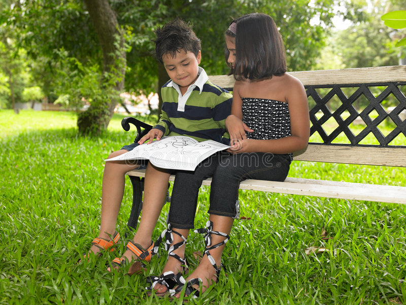 Asian children in a garden