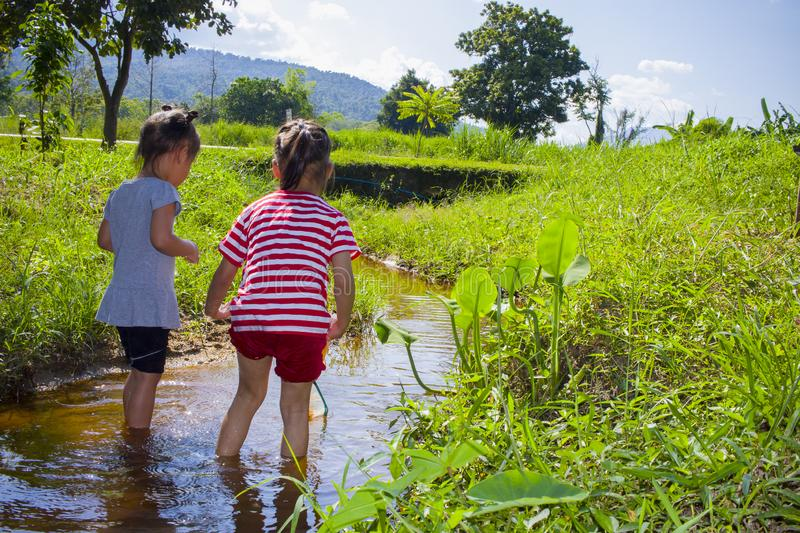 Asian Children playing  barefoot in stream water, catch a fish play mud and sand. High resolution image gallery stock photos