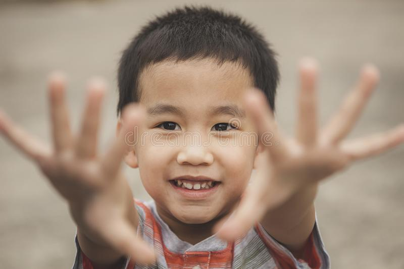 Asian children playing with happiness face royalty free stock photo
