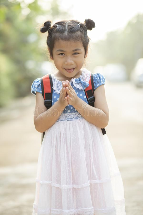 Asian children sawasdee greeting thai culture royalty free stock photography