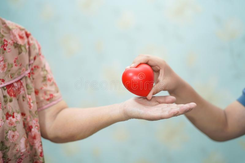 Asian children young kid give red heart strong health to old mother lady with love. stock images