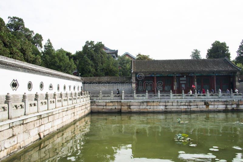 Asian China, Beijing, the Summer Palace, Kunming lake, walls, stone railing royalty free stock photos