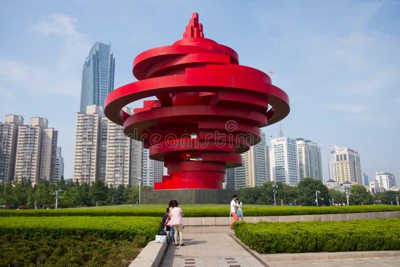 Asian China, Shandong Qingdao, Sculpture, May Wind. Asian China, Qingdao, Shandong Province,wusi Square ,Theme Sculpture May winds royalty free stock photography